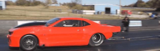 Fireball Camaro with twin 98s and 544ci Proline Wedge motor